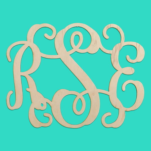 WB  3 Initial Wood Monogram - Large ( Website )