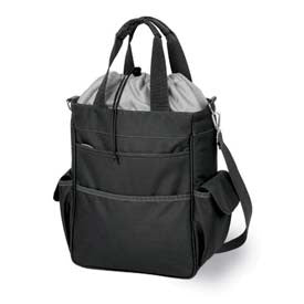 Picnic Time Activo- Insulated Tote- Black/Silver