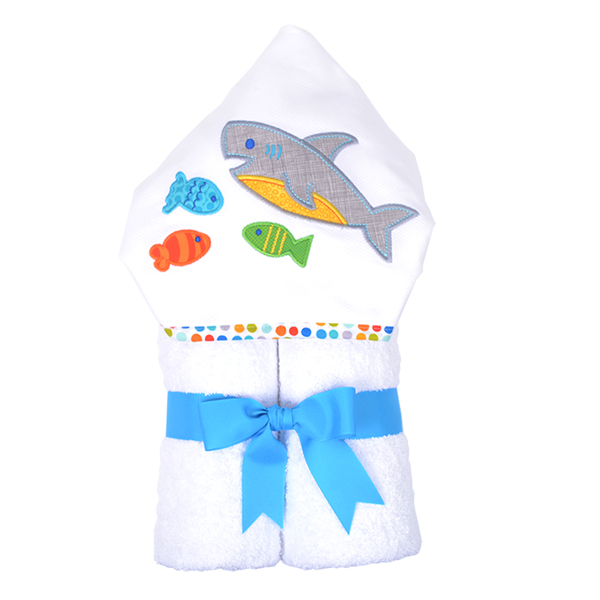 3 Marthas Shark Smiles Hooded Towel