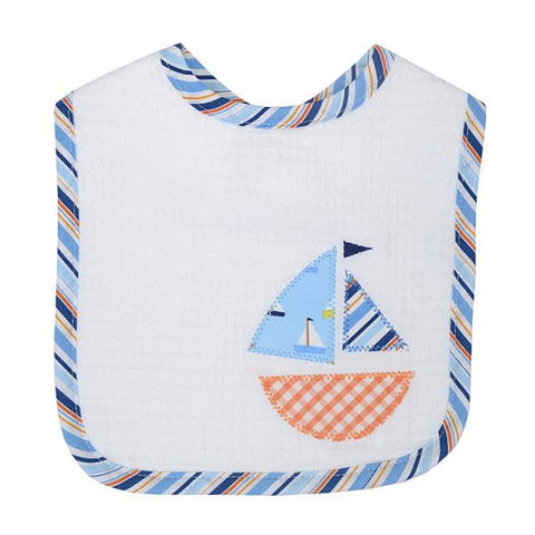 3 Marthas feeding bib Blue Sailboat