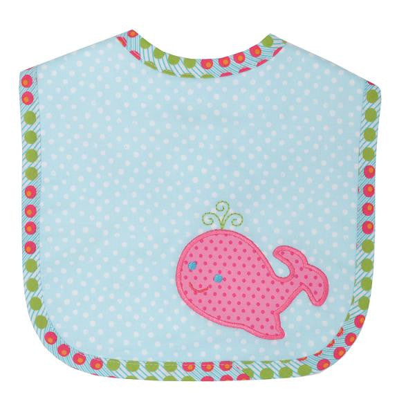 3 Marthas Pink Whale waves feeding bib