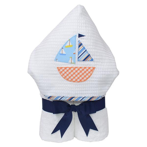 3 MarthasBlue Stripe Hooded Towel