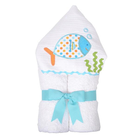 3 Marthas Blue Fish hooded towel