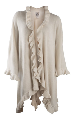 April Marin Ruffle Shawl - Cream