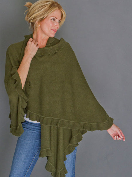 April Marin Ruffle Shawl - Hunter