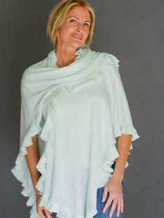 April Marin City Ruffle Shawl - Lt Aqua