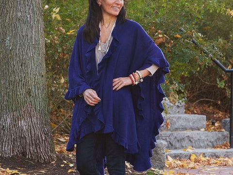 April Marin Ruffle Shawl - Navy