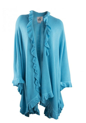 April Marin Ruffle Shawl - Turquoise