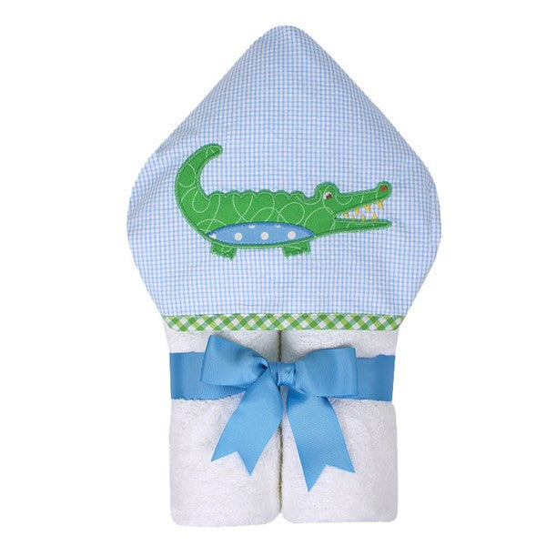 3 Marthas Hooded Towel w/ washcloth - Blue Alligator