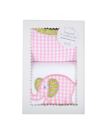 3 Marthas Box Burp / Bib Set - Pink Elephant
