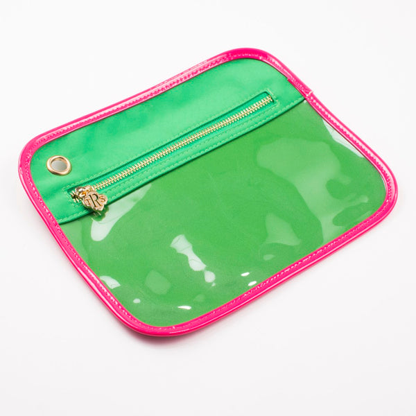 Royal Standard Clear Pouch - MED -Green/Pink