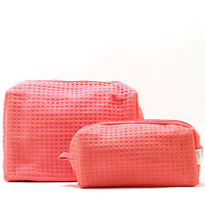 Terry Town Waffle Cosmetic Case - Coral