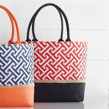 Mud Pie GameDay Jigsaw Tote - Red/black