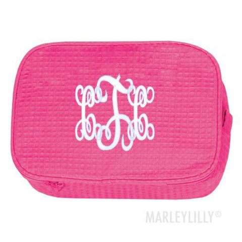 Terry Town Waffle Cosmetic Case - Hot Pink