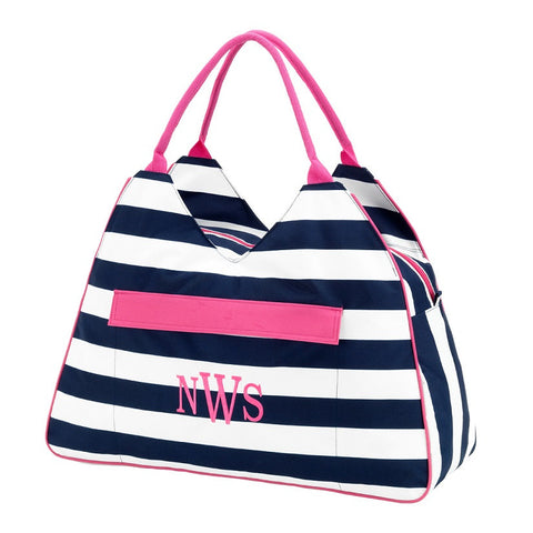 WB Prep Strip Beach Bag