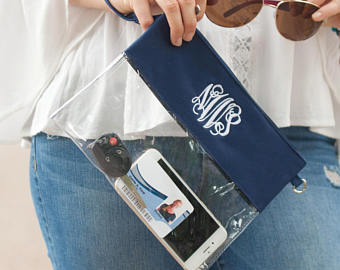 WB Gameday Clear Zip Pouch -Navy