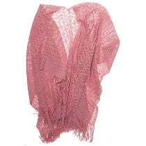 Two's Company Fringe Cape - Dusty Rose