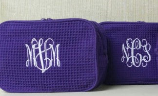 Terry Town Waffle Cosmetic Case - Purple