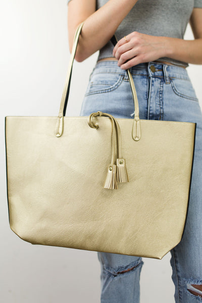 Mudpie Reagan Reversible Tote - Gold
