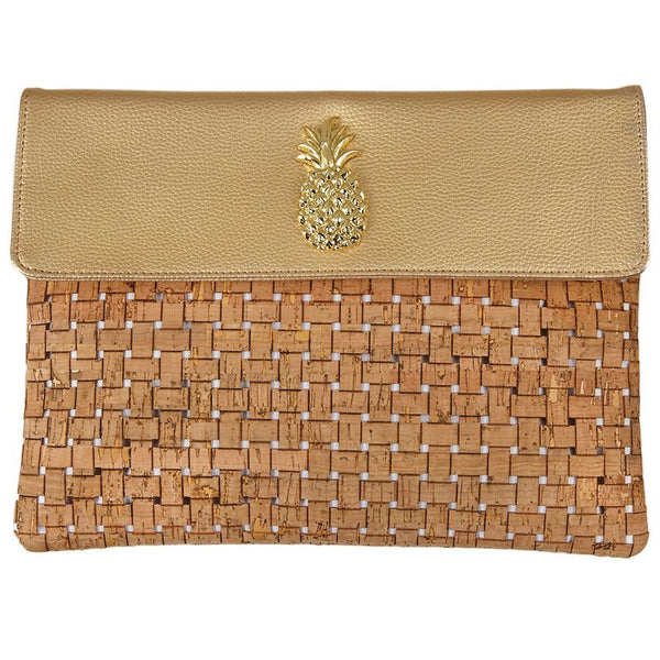 Mudpie Sea Icon Cork Clutch - Gold Pineapple