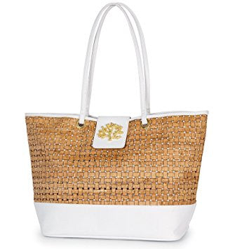 Mudpie Sea Icon Cork Tote - White Coral