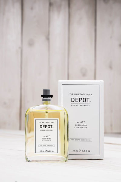 "Depot NO 407 Restoring Aftershave Herstellende en verfrissende after-shave lotion.  Een kleine hoeveelheid alcohol garandeert frisheid, hydratatie en verlengt het gevoel van ""wellness""."