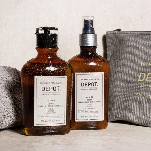 Depot Sport Hair & Body Shampoo NO. 606 &  Refreshing Body Spray NO. 607