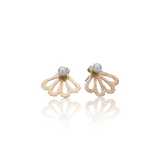 Peekaboo Gold studs with freshwater pearls