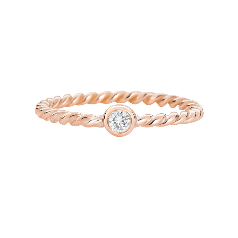 Thread XO rose gold ring with diamond