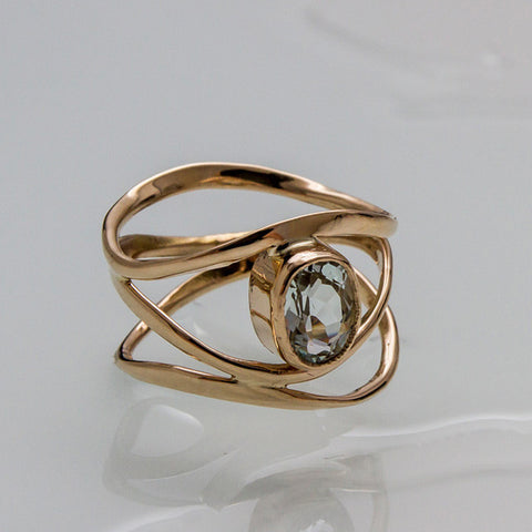 Ripples Ring gold and aquamarine