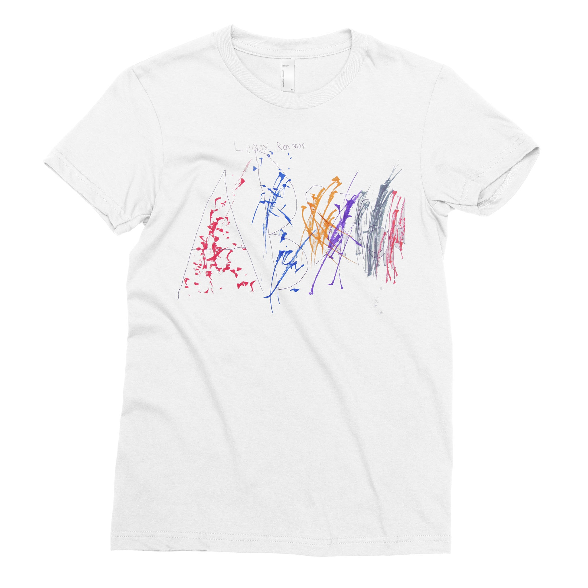 Alphabet Splatter - Adult T-shirt - Rightside Shirts