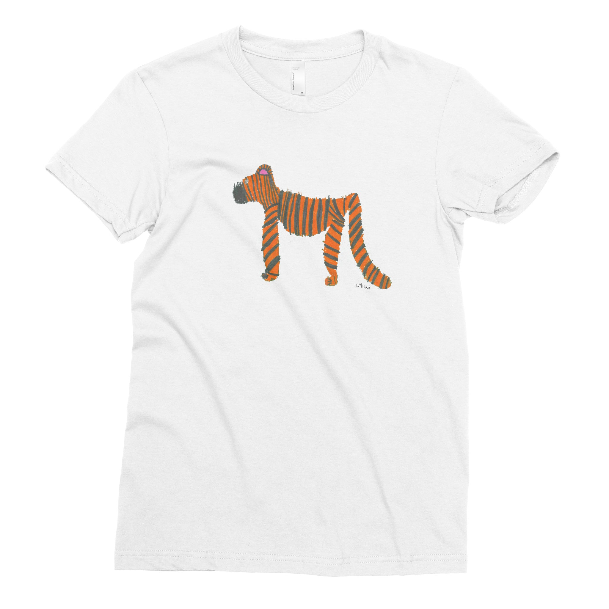 Tiger in a Rainforest by Lillian, 1st grade - Adult T-shirt - Rightside Shirts - 1