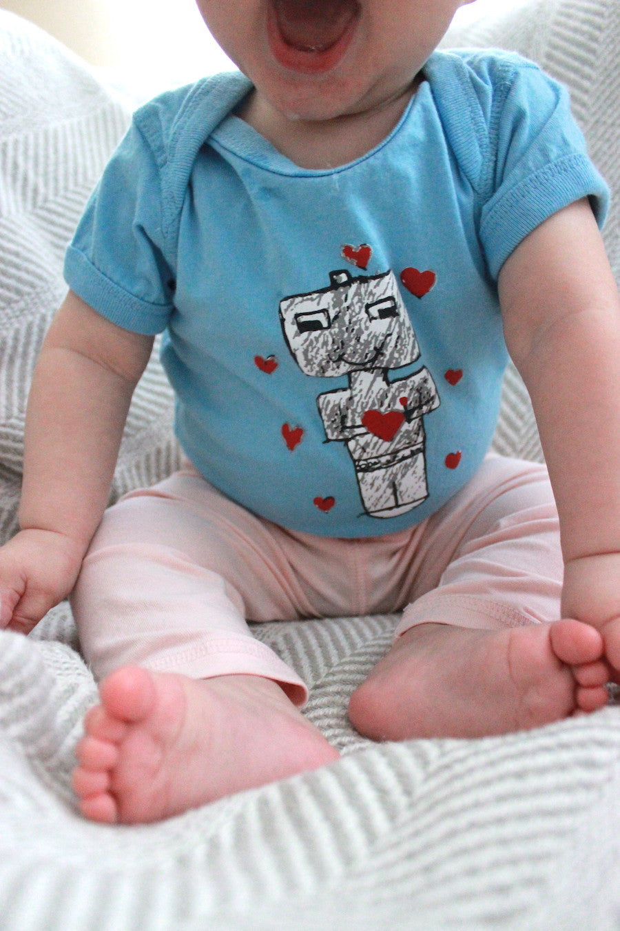 Robots with Heart Onesie - Baby Onesie - Rightside Shirts - 3
