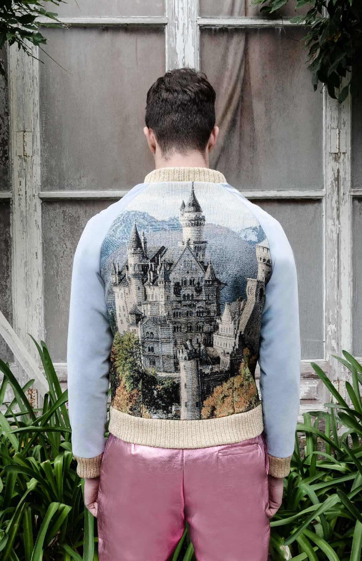 Unisex velvet bomber with castle tapestry