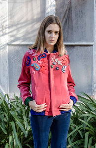 Fuchsia velvet bomber with ornaments