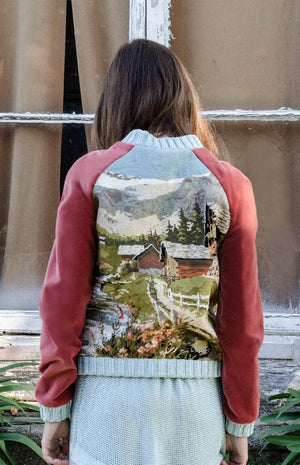 Bomber with embroidered landscape