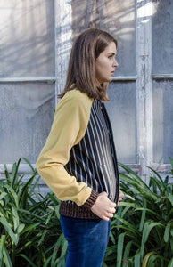 Velvet bomber unisex yellow and stripes