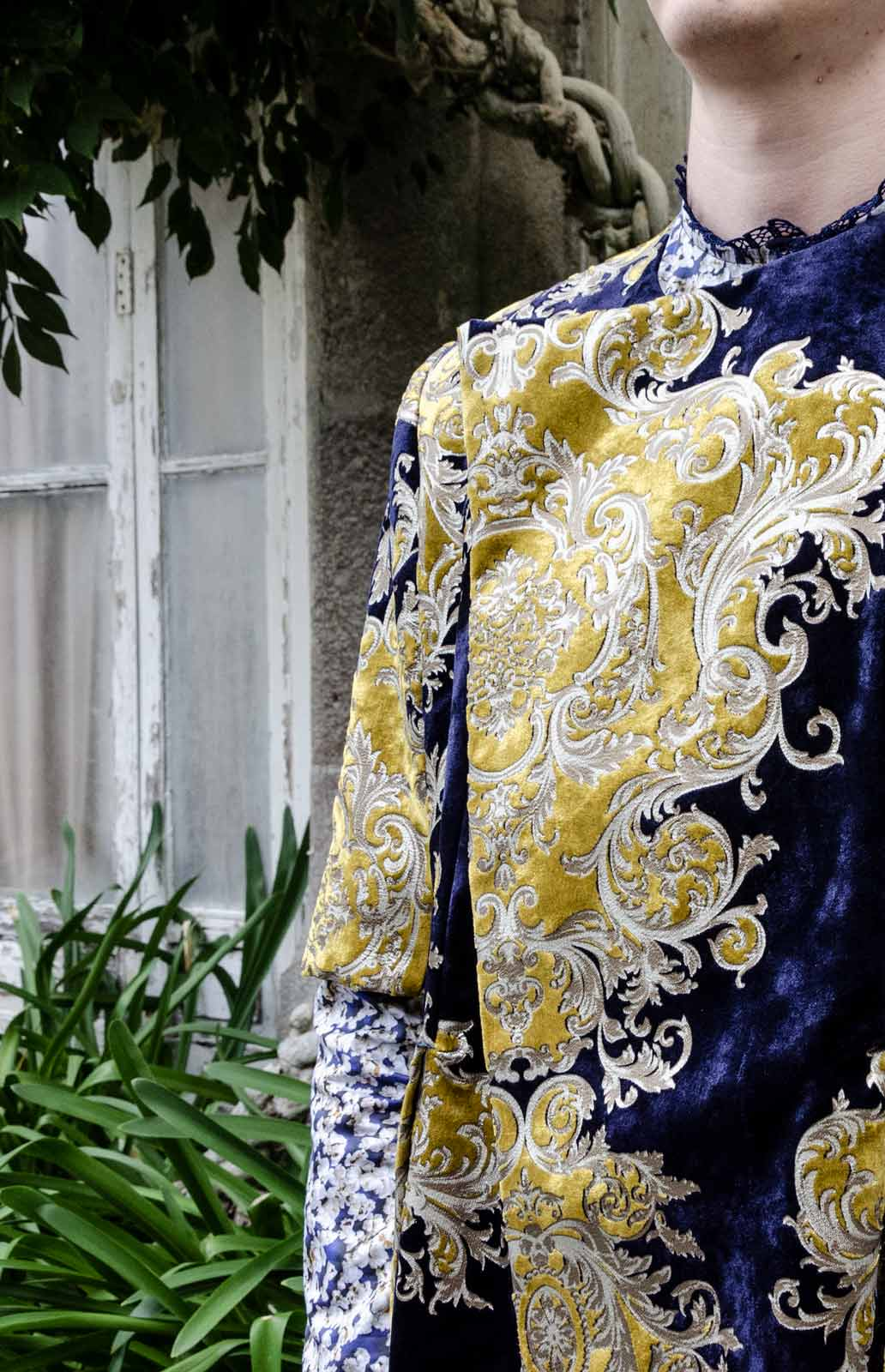 Velvet navy tapestry jacket
