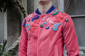 Unisex fuchsia velvet bomber with ornaments