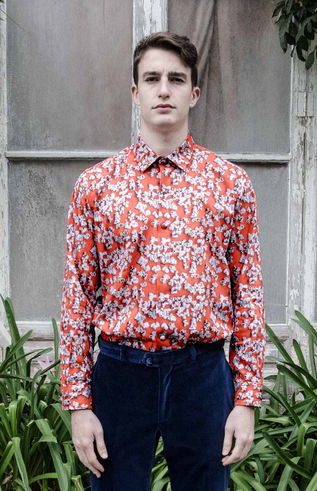 Orange popcorn shirt man