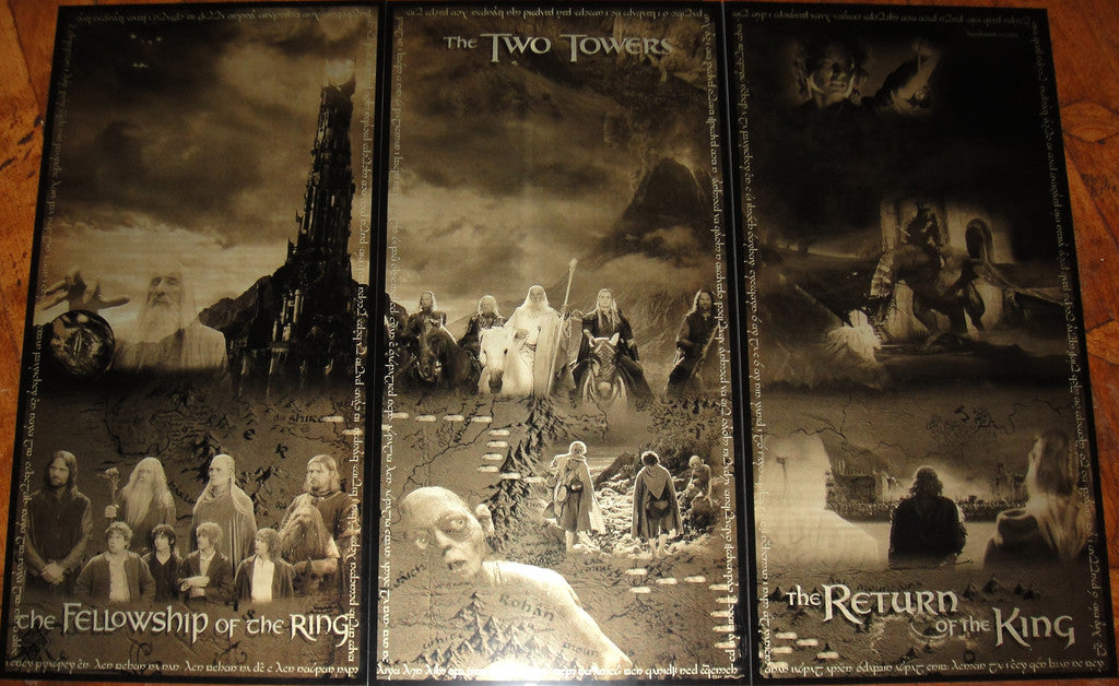 Lord of the Rings Movie Trilogy Geekograph Limited Edition Metal Art Triptych