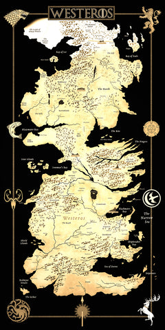 Game of Thrones Map of Westeros Geekograph Limited Edition Metal Art