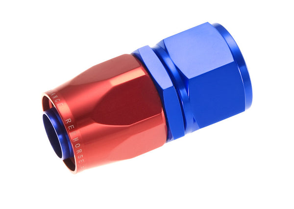 -06  Straight Swivel-Seal Female Aluminum Hose End - Red & Blue