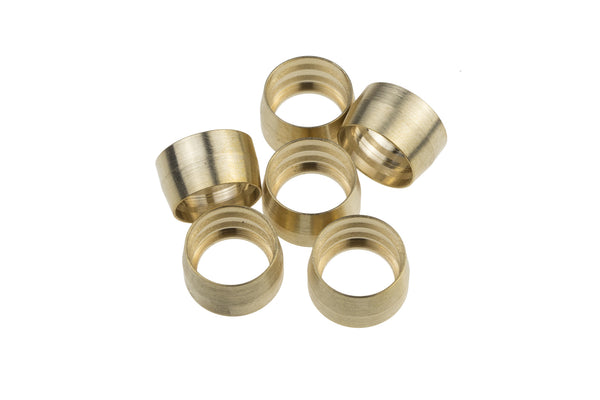 Brass Replacement Ferrules for -04  1200 Series PTFE Hose Ends - 6pcs/pkg