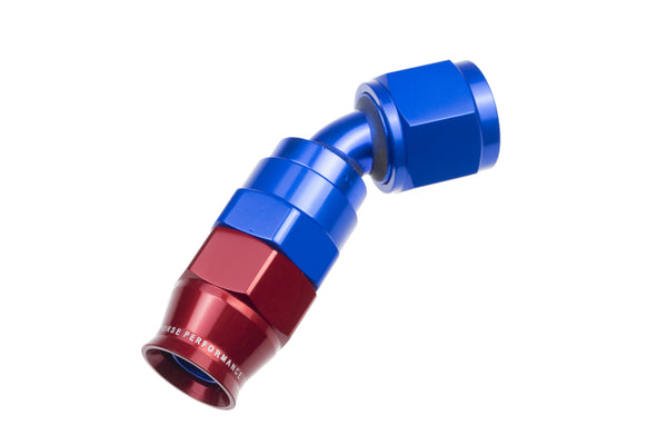 -10 AN 45 Degree PTFE reusable  Hose End - Blue