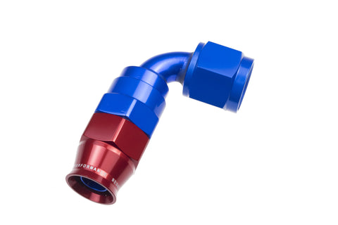 '-08 AN 90 Degree PTFE reusable  Hose End - Blue