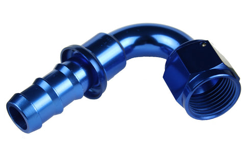 -04 120 Degree AN Push Lock Hose End - Blue