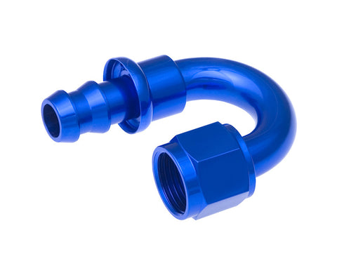 -08 180 Degree AN Push Lock Hose End - Blue