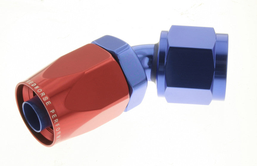 -12 45 Degree Non-Swivel AN Hose End - Red & Blue