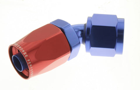 -04 45 Degree Non-Swivel AN Hose End - Red & Blue